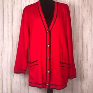 Cathy Daniels red black cardigan button sweater M